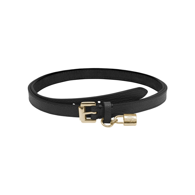 Mulberry Padlock Charm Belt Black Soft Saddle