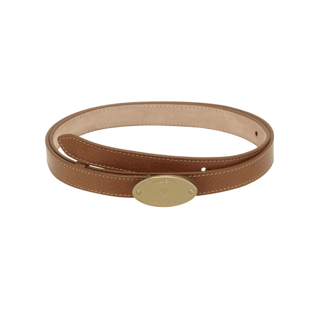 Mulberry Plaque Belt Oak Natural Leather