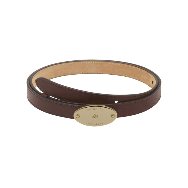 Mulberry Plaque Belt Oxblood Silky Classic Calf