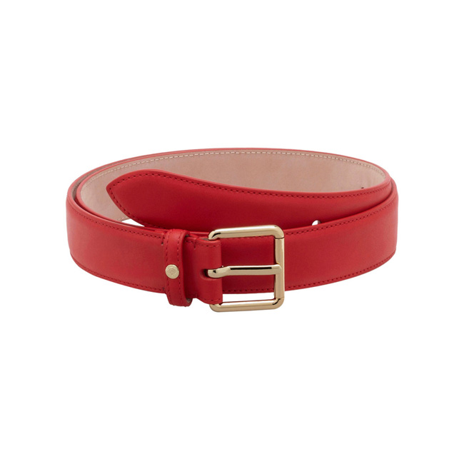 Mulberry Buckle Belt Bright Red Polished Calf