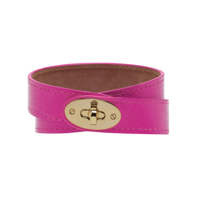 Mulberry Double Wrap Bayswater Bracelet Pink Glossy Goat