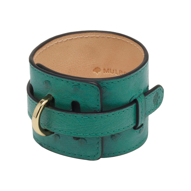 Mulberry Wide Leather Bracelet Emerald Ostrich