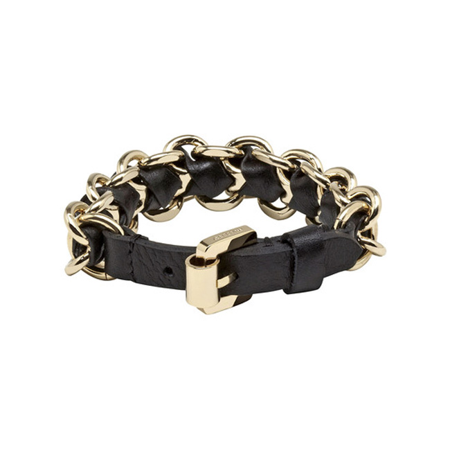Mulberry Chain Bracelet Black Soft Saddle Leather