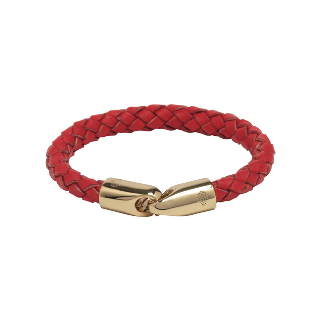 Mulberry Tubular Bracelet Bright Red Polished Calf