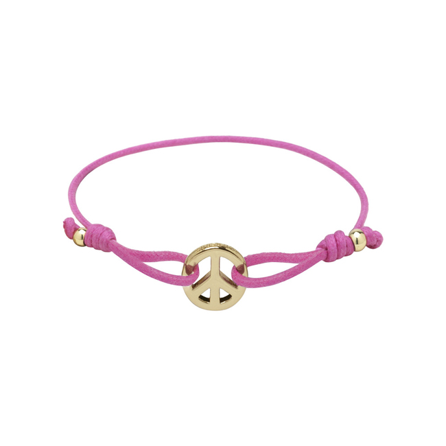 Mulberry Peace Friendship Bracelet Pink Waxed Cotton