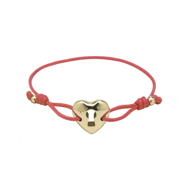 Mulberry Heart Friendship Bracelet Valentine Red Waxed Cord