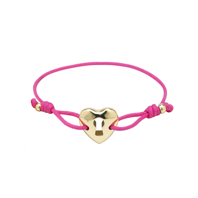 Mulberry Heart Friendship Bracelet Pink Waxed Cotton
