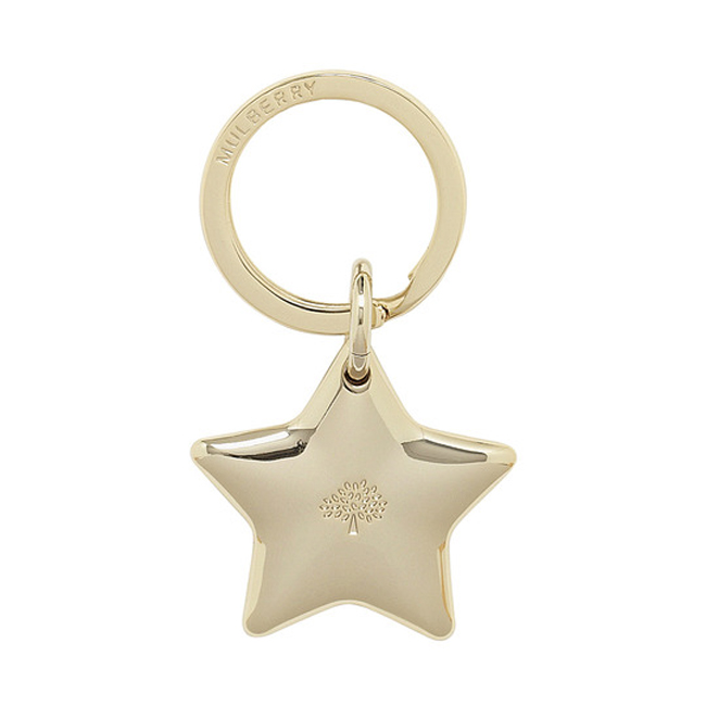 Mulberry Star Keyring Soft Gold Metal