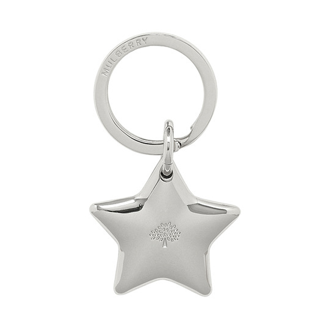 Mulberry Star Keyring Silver Metal