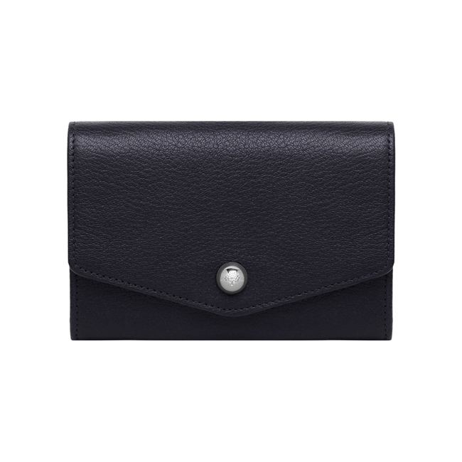 Mulberry Dome Rivet French Purse Midnight Blue Shiny Goat