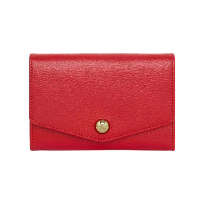 Mulberry Dome Rivet French Purse Bright Red Shiny Goat