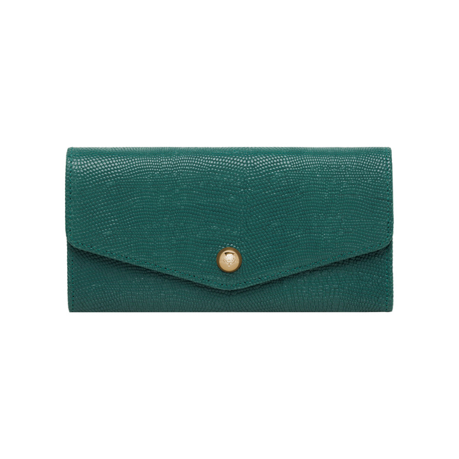 Mulberry Dome Rivet Continental Wallet Emerald Textured Lizard Print