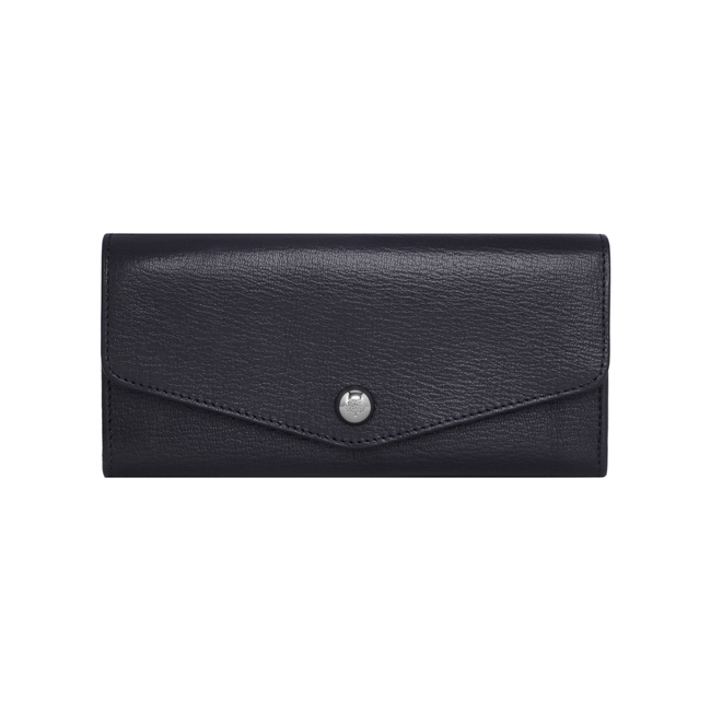 Mulberry Dome Rivet Continental Wallet Midnight Blue Shiny Goat