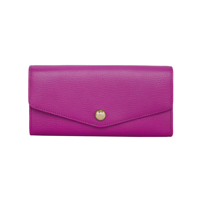 Mulberry Dome Rivet Continental Wallet Pink Glossy Goat