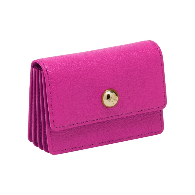 Mulberry Dome Rivet Card Case Pink Glossy Goat