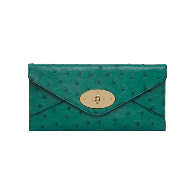 Mulberry Envelope Wallet Emerald Ostrich
