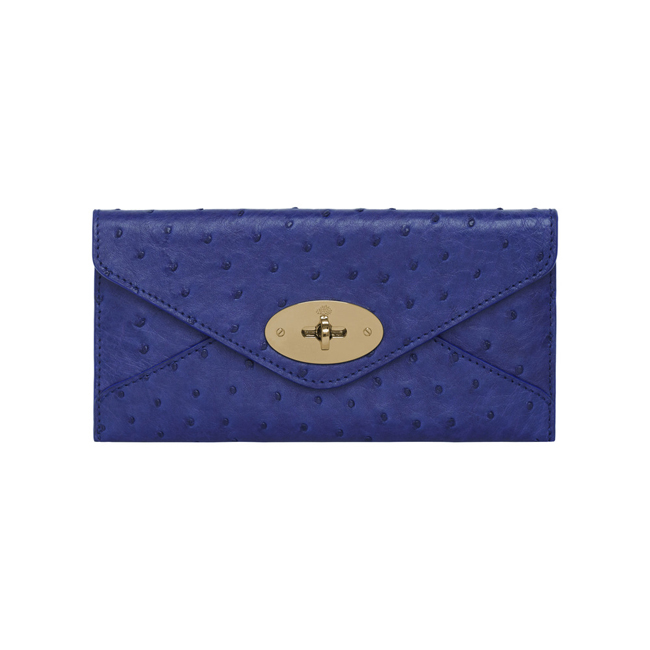 Mulberry Envelope Wallet Cosmic Blue Ostrich