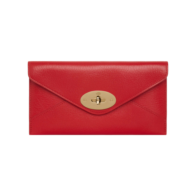 Mulberry Envelope Wallet Bright Red Shiny Goat