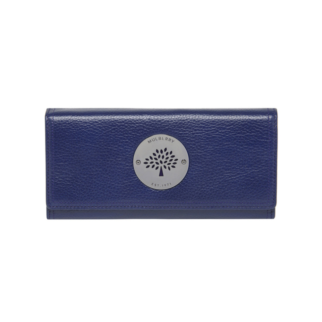Mulberry Daria Continental Wallet Cosmic Blue Soft Spongy