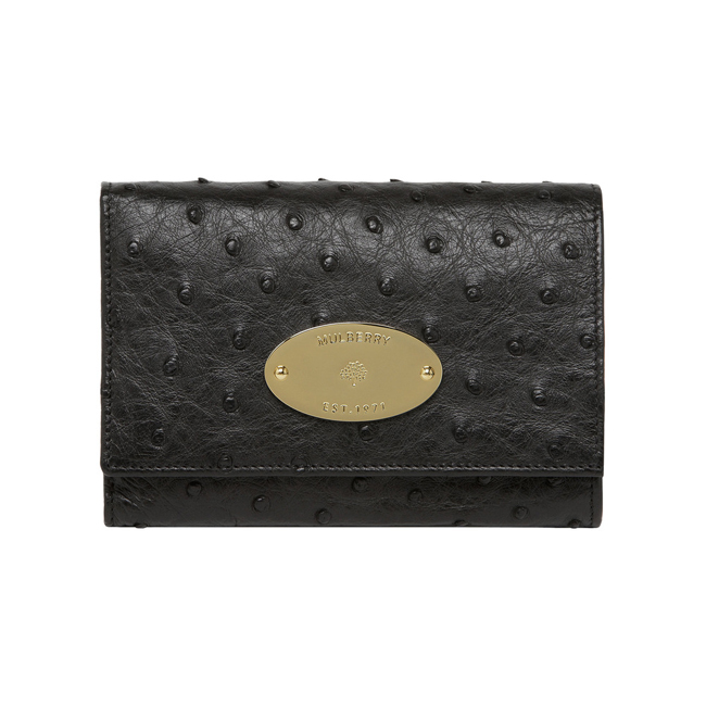 Mulberry French Purse Black Ostrich