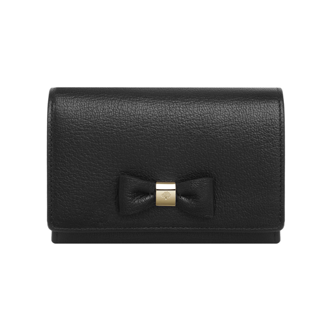 Mulberry Bow French Purse Black Classic Nappa