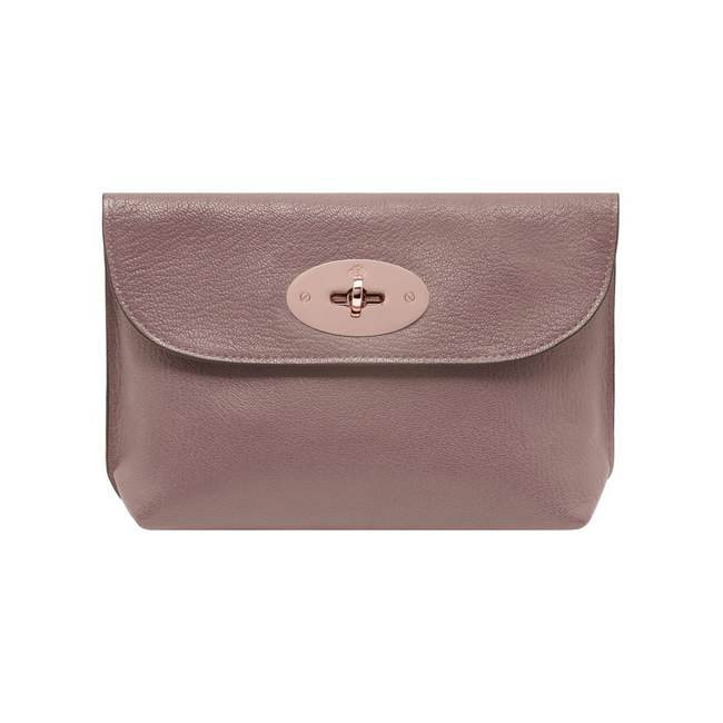 Mulberry Locked Cosmetic Purse Dark Blush Glossy Goat Leather