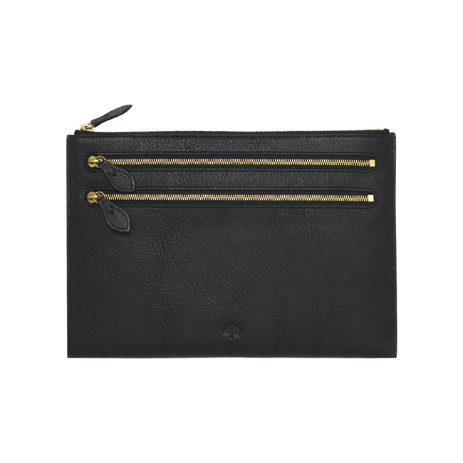 Mulberry Multizip Pouch Black Natural Leather
