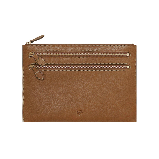 Mulberry Multizip Pouch Oak Natural Leather
