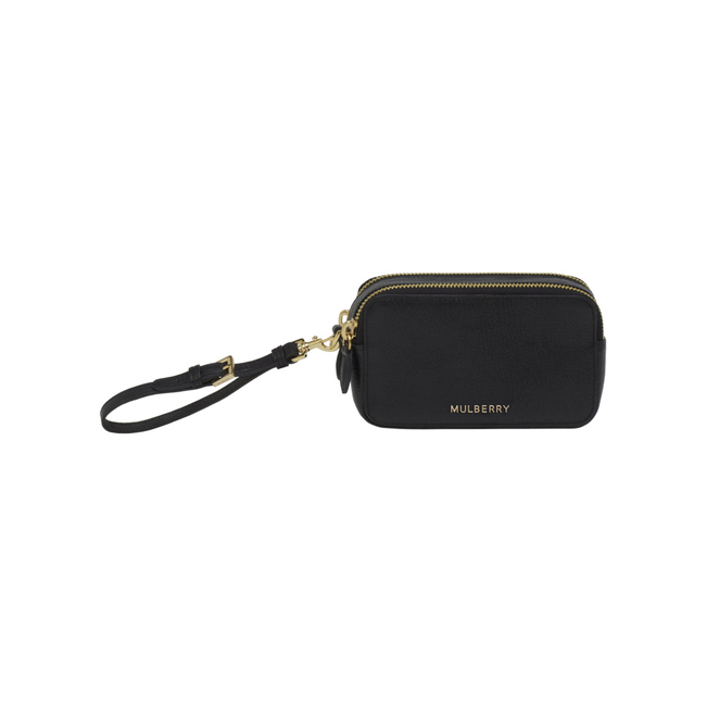 Mulberry Wristlet Pouch Black Glossy Goat