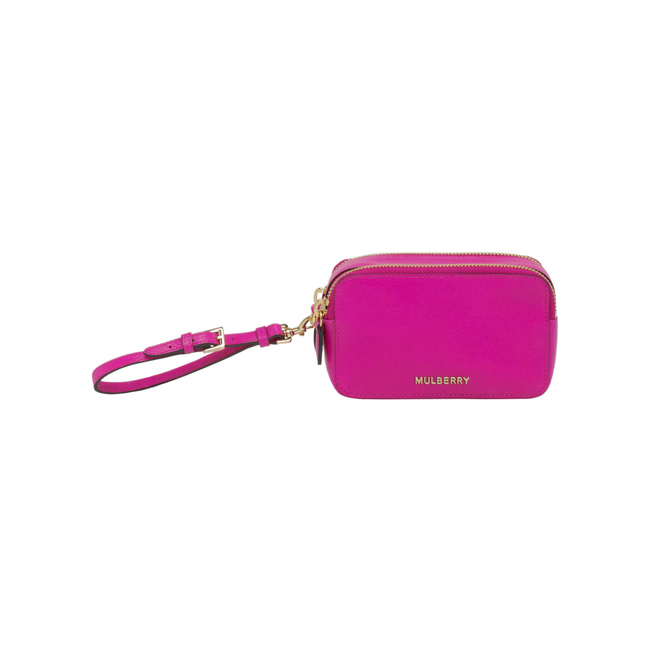 Mulberry Wristlet Pouch Pink Glossy Goat