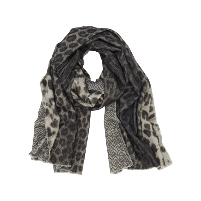 Mulberry Reversible Printed Wrap Grey Marl Leopard & Herringbone Print