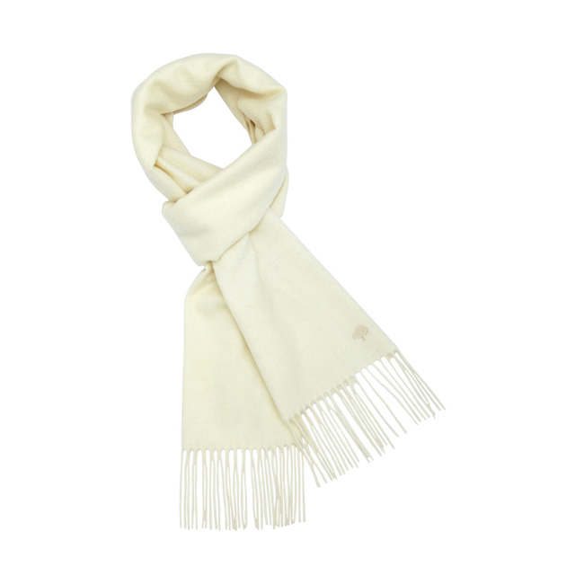 Mulberry Block Colour Scarf Off White Cashmere
