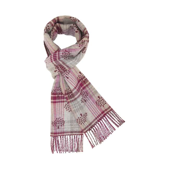 Mulberry Jacquard Logo Scarf Pink Cashmere & Merino