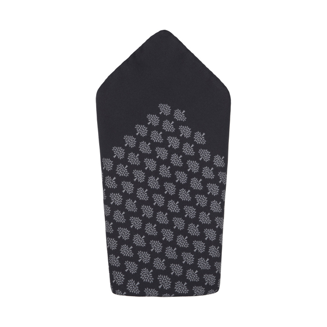 Mulberry Pocket Square Grey Marl Tree Print