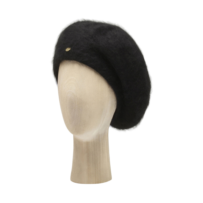 Mulberry Beret Black Angora