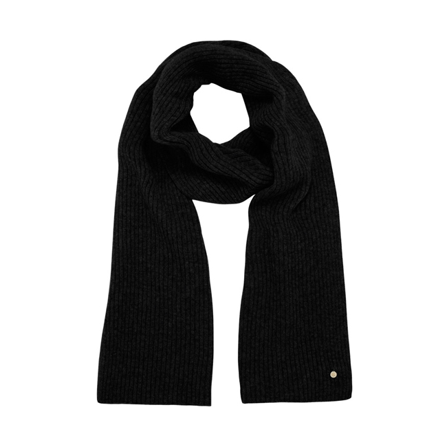 Mulberry Rib Scarf Black Camel Hair