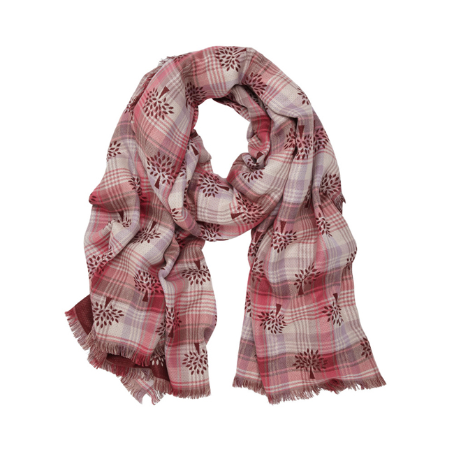 Mulberry Summer Tree Jacquard Scarf Raspberry Silk Cotton Blend