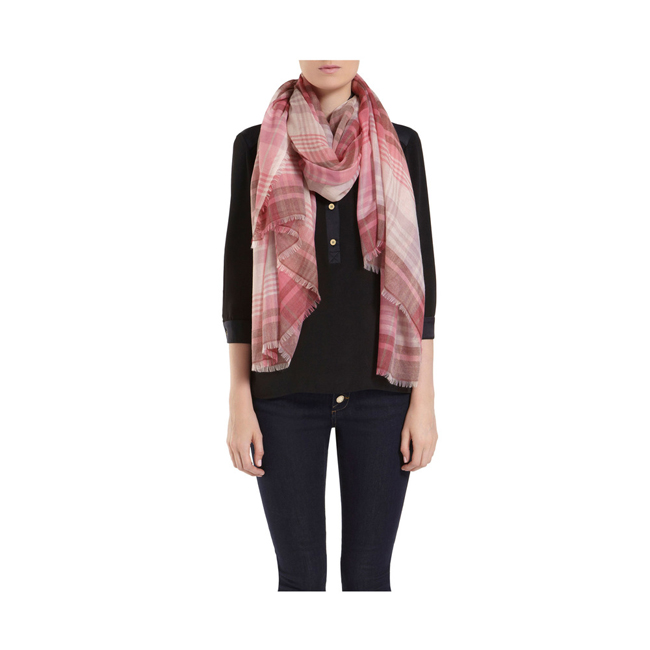 Mulberry Check Lightweight Wrap Raspberry Cashmere Blend