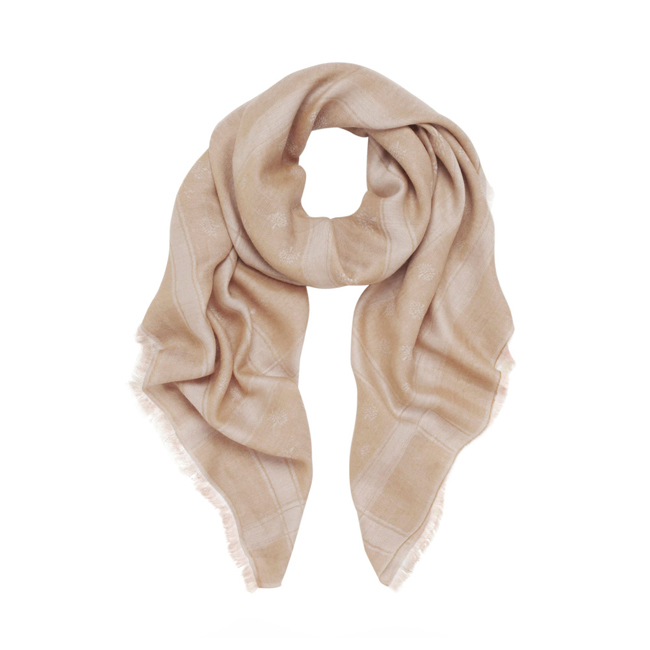 Mulberry Cashmere Tamara Scarf Biscuit Brown Cashmere