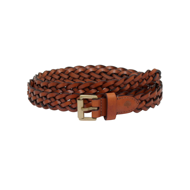 Mulberry Unisex Thin Plaited Belt Oak Natural Leather