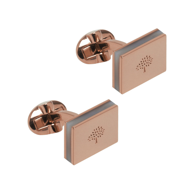Mulberry Rectangular Plaque Cufflinks Rose Gold Metal With Mother Of Pearl