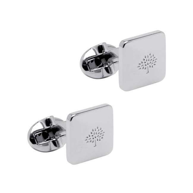 Mulberry Small Square Tree Cufflinks Silver Plated