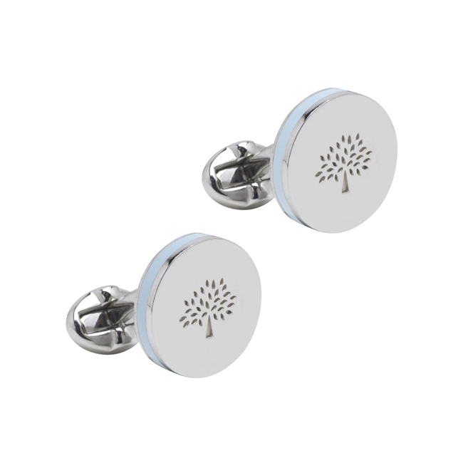 Mulberry Round Sandwich Cufflinks Silver Plated & Pale Blue Enamel