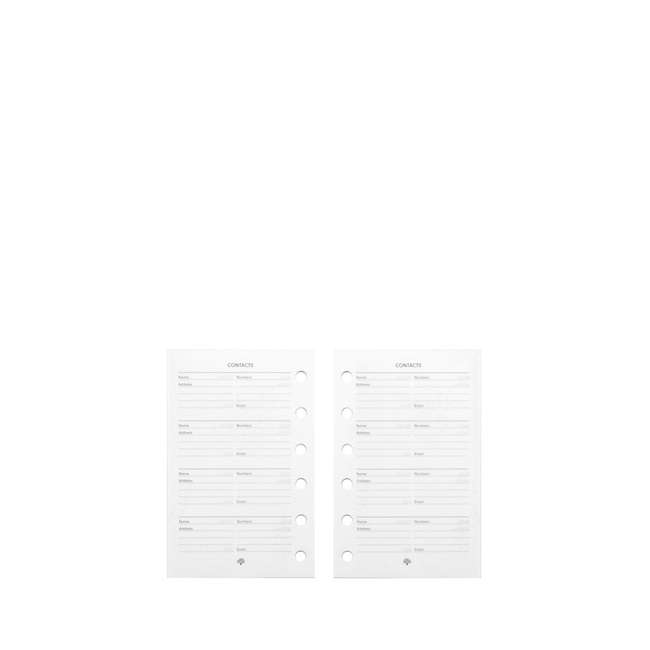 Mulberry Pocket Book Contacts Pages White Paper