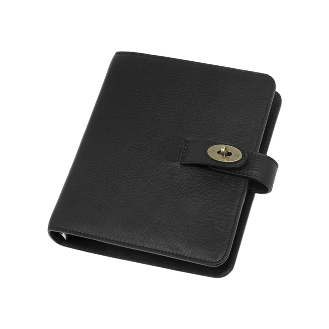 Mulberry Postman Lock Agenda Black Natural Leather
