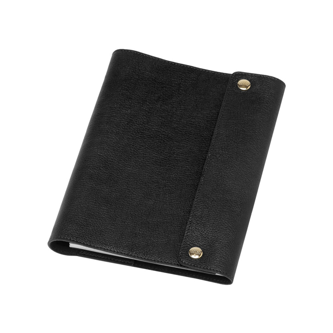 Mulberry A5 Notebook Cover Black Natural Leather