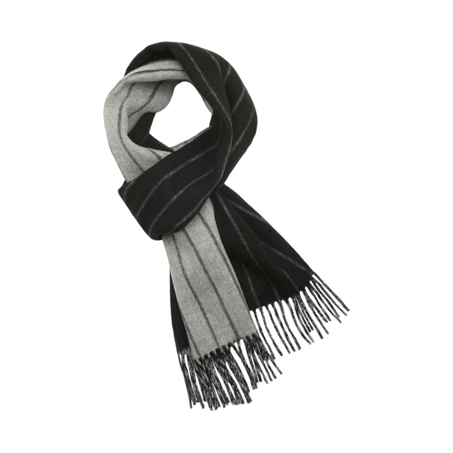 Mulberry Double Faced Stripe Scarf Grey Marl Merino Cashmere