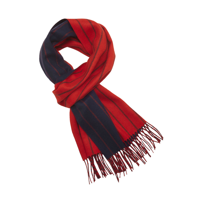Mulberry Double Faced Stripe Scarf Bright Red Merino Cashmere