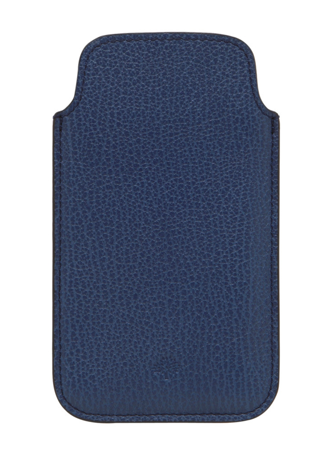 Mulberry iPhone 5 Cover Slate Blue Grainy Print Leather