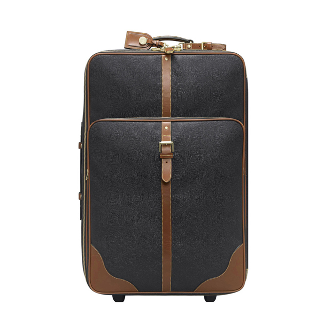 Mulberry Large Trolley Black Scotchgrain With Cognac Trim